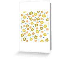 Retro green orange abstract floral pattern Greeting Card