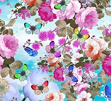 Vintage colorful butterflies girly floral pattern by Maria Fernandes