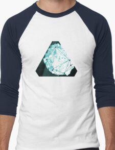 Abstract Geometry: Ocean Crystal (Ice Blue) Men's Baseball ¾ T-Shirt