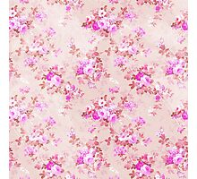 Vintage colorful pink lilac brown floral pattern Photographic Print