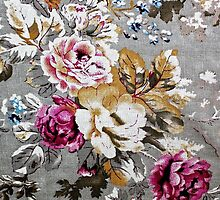 Vintage pink white fabric texture floral pattern by Maria Fernandes