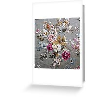 Vintage pink white fabric texture floral pattern Greeting Card