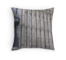 Pillars and classic architecture of the exterior of a museum in London Throw Pillow