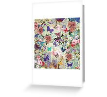 Colorful bird butterflies vintage floral pattern Greeting Card