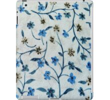 Vintage blue brown fabric texture floral pattern  iPad Case/Skin