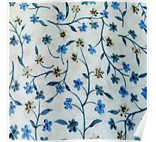 Vintage blue brown fabric texture floral pattern  Poster