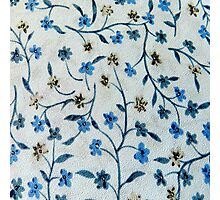 Vintage blue brown fabric texture floral pattern  Photographic Print