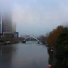 Walking bridge across the Yarra surrounded by mist by Ian Stevenson