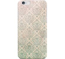 Vintage green grunge floral damask pattern  iPhone Case/Skin