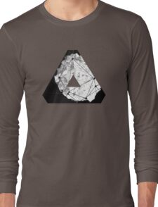 Abstract Geometry: Monochrome Crystal (Black/White/Grey) Long Sleeve T-Shirt
