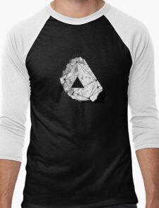 Abstract Geometry: Monochrome Crystal (Black/White/Grey) Men's Baseball ¾ T-Shirt