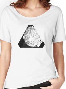 Abstract Geometry: Monochrome Crystal (Black/White/Grey) Women's Relaxed Fit T-Shirt