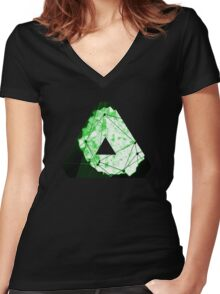Abstract Geometry: Neon Forest (Dark Green) Women's Fitted V-Neck T-Shirt