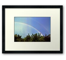 blue rainbow with little bird Framed Print