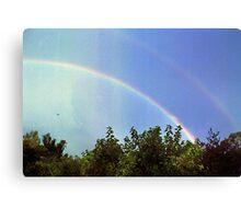 blue rainbow with little bird Canvas Print