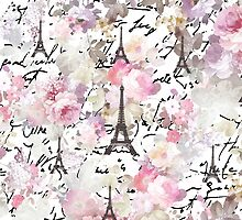 Vintage Paris Eiffel Tower pink flowers pattern by Maria Fernandes