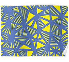 Munderville Abstract Expression Yellow Blue Poster