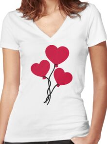 Red heart balloons Women's Fitted V-Neck T-Shirt