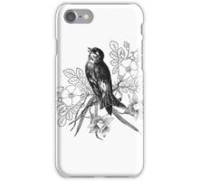 Cute vintage black and white bird flowers pattern  iPhone Case/Skin