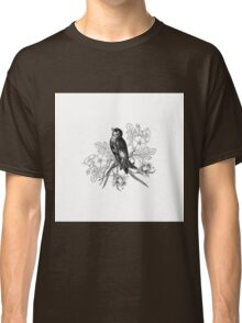 Cute vintage black and white bird flowers pattern  Classic T-Shirt