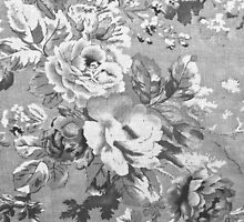Vintage black and white fabric floral pattern  by Maria Fernandes