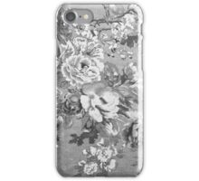 Vintage black and white fabric floral pattern  iPhone Case/Skin