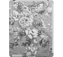 Vintage black and white fabric floral pattern  iPad Case/Skin