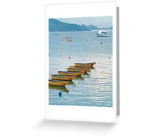 blue sea and yellow boats Greeting Card