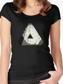 Abstract Geometry: Embers (Brown/Gold) Women's Fitted Scoop T-Shirt