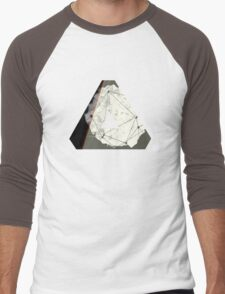 Abstract Geometry: Embers (Brown/Gold) Men's Baseball ¾ T-Shirt