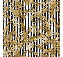 Chic gold faux glitter flowers vintage stripes Photographic Print