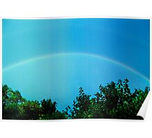 blue rainbow with faint second bow Poster