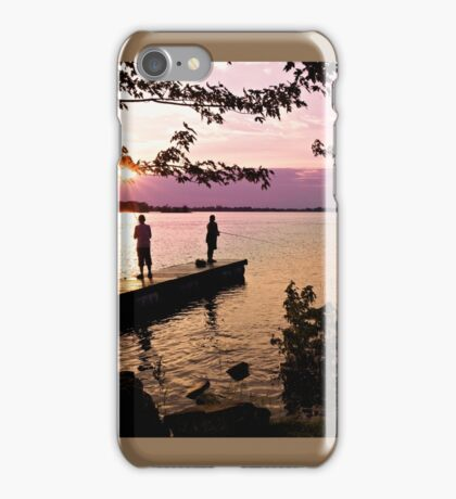 Boys Fishing, Terrasse Vaudreuil, Ile Perrot iPhone Case/Skin