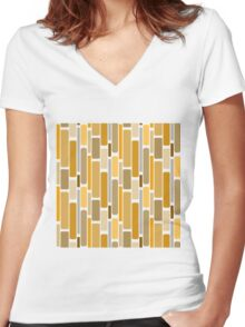 Retro modern yellow orange abstract pattern Women's Fitted V-Neck T-Shirt