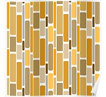 Retro modern yellow orange abstract pattern Poster