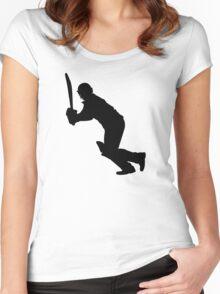 Cricket Sport Bat Ball Women's Fitted Scoop T-Shirt