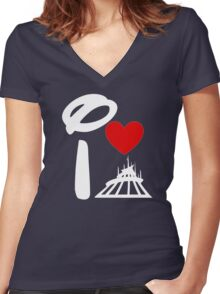 I Heart Space Mountain (Inverted) Women's Fitted V-Neck T-Shirt