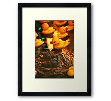 Beautiful Yellow Rubber Duck In Water Framed Print