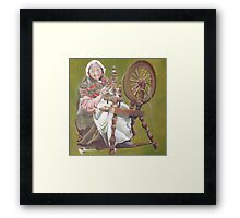Old Irish Woman Sitting At A Spinning Wheel Framed Print