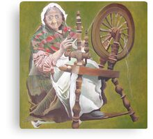 Old Irish Woman Sitting At A Spinning Wheel Canvas Print