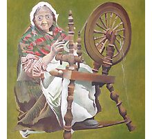 Old Irish Woman Sitting At A Spinning Wheel Photographic Print