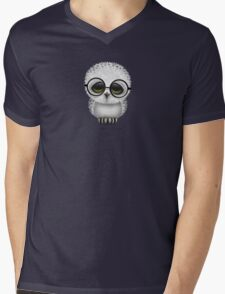 Cute Baby Snowy Owl Wearing Glasses on Teal Blue Mens V-Neck T-Shirt