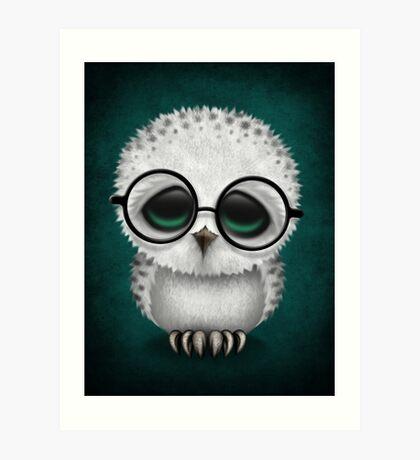 Cute Baby Snowy Owl Wearing Glasses on Teal Blue Art Print