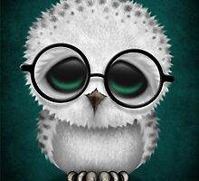Cute Baby Snowy Owl Wearing Glasses on Teal Blue by Jeff Bartels