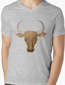 Bulls Head. Mens V-Neck T-Shirt