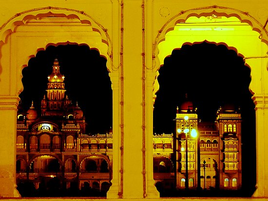 Mysore Palace at night by Tamara Travers