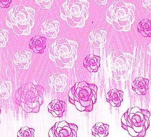 Girly pink watercolor hand made floral pattern by Maria Fernandes
