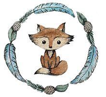 Woodland wreath fox by Sweet Calico
