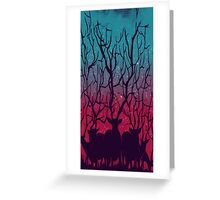 Stary Night Forest Deers Greeting Card