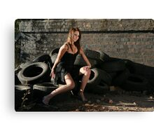 Great shot on tyres stunning new model Roxi Canvas Print